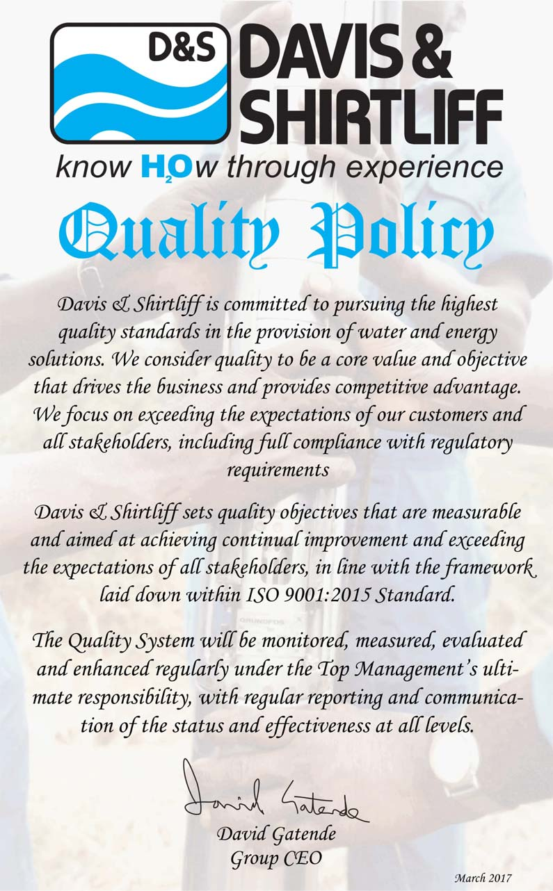 Quality Policy of Davis & Shirtliff